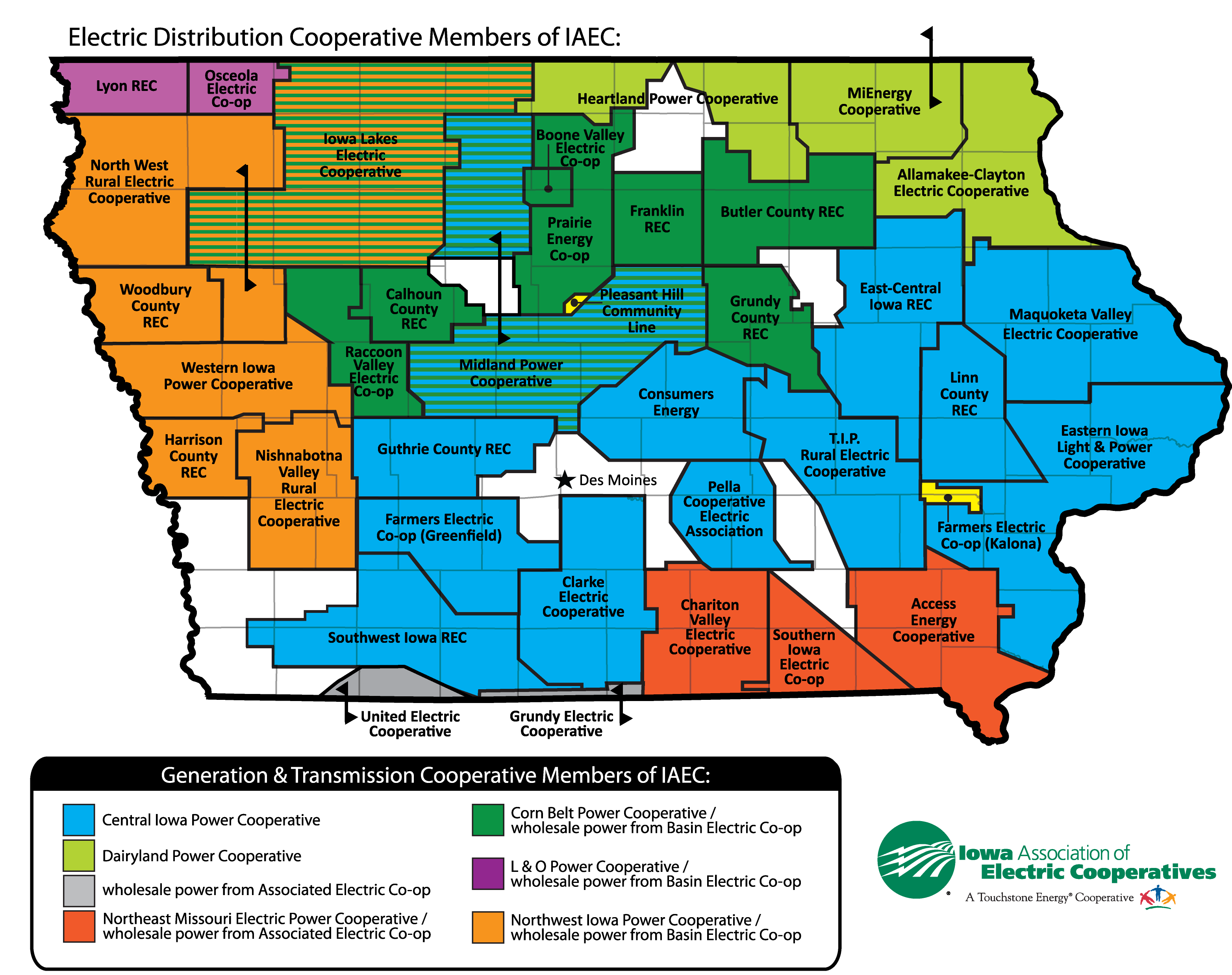 Our Members Iowa Association Of Electric Cooperatives - Us-electric-utility-map